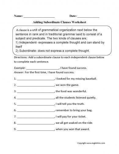 adding subordinate clause worksheet example