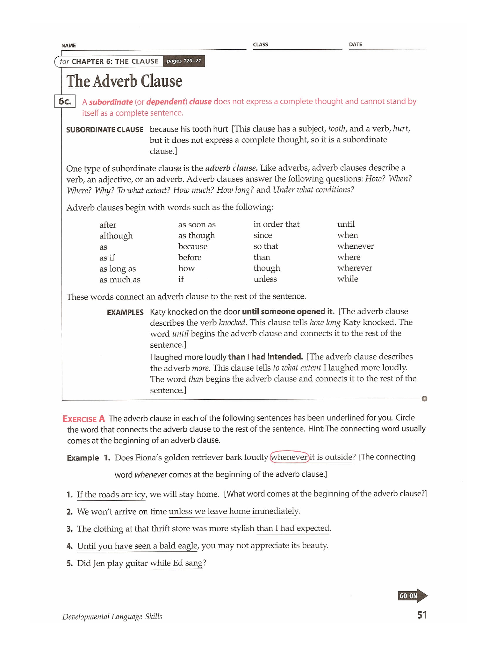 adverb clause discussion and worksheet example