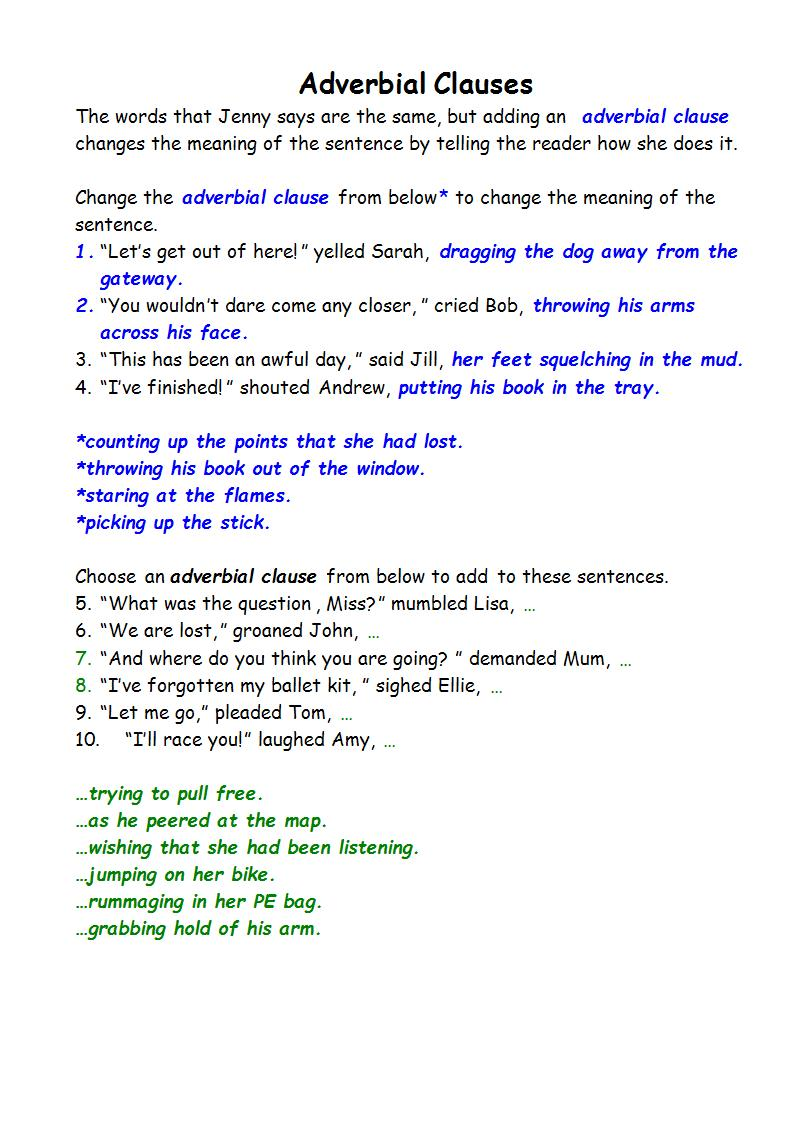 adverbial clauses notes example