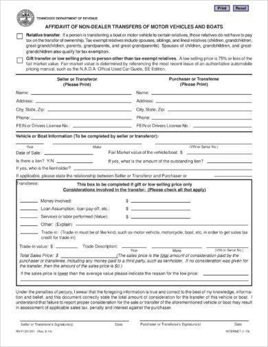 affidavit gift of non dealer transfers of vehicle