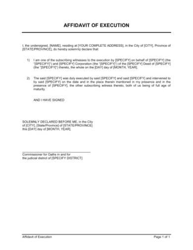 affidavit of execution