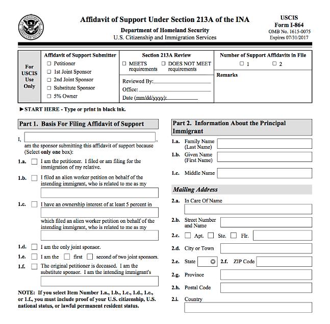 affidavit of support sample form
