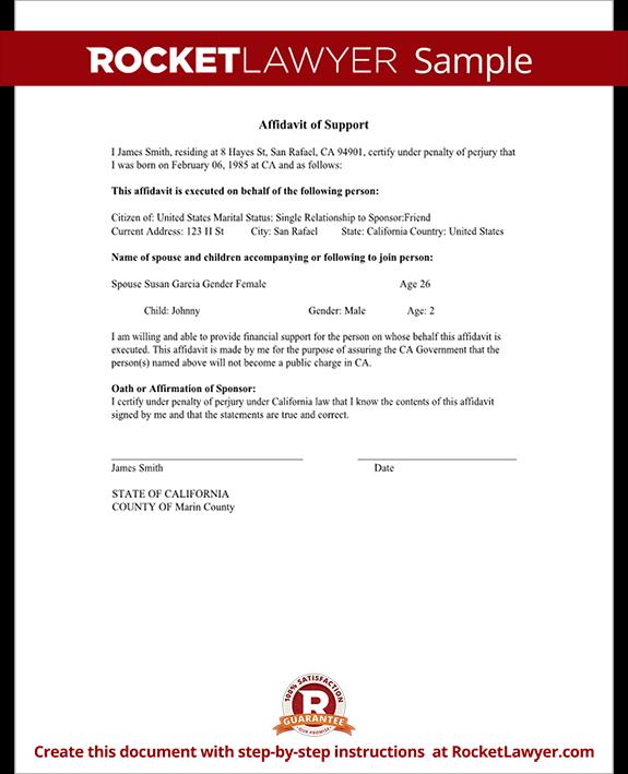 affidavit of support sample