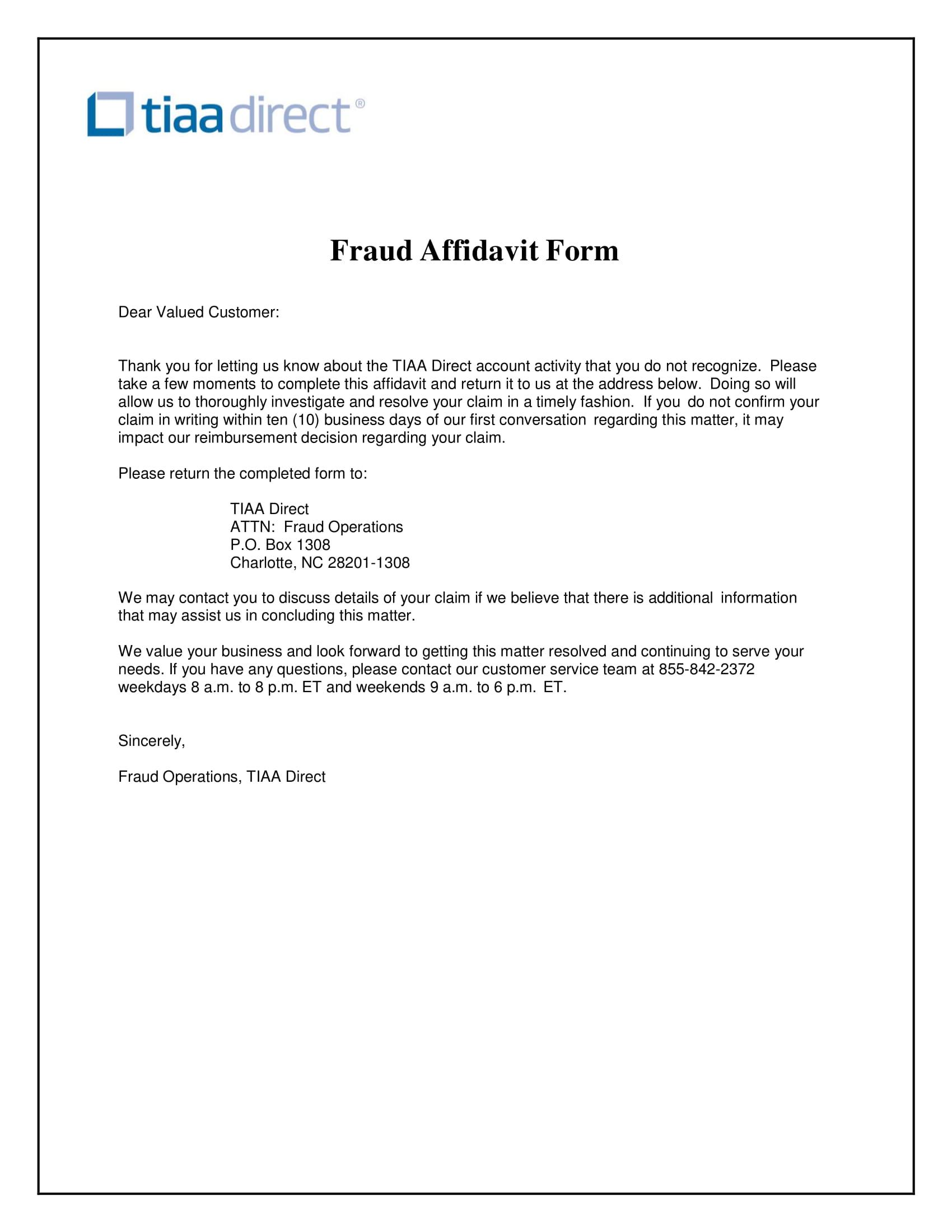 affidavit form fraud