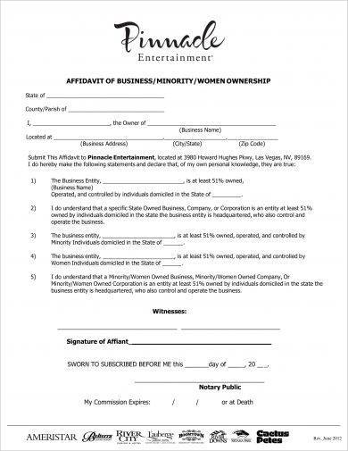 affidavit of business minority women ownership example2
