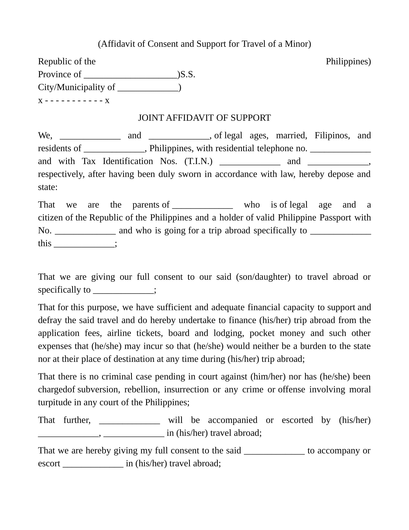 affidavit of consent and support
