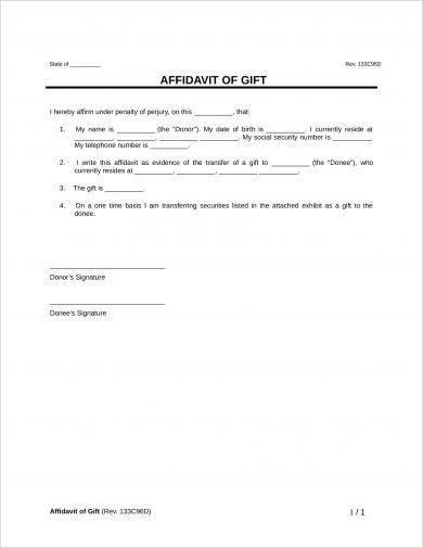 affidavit of gift example