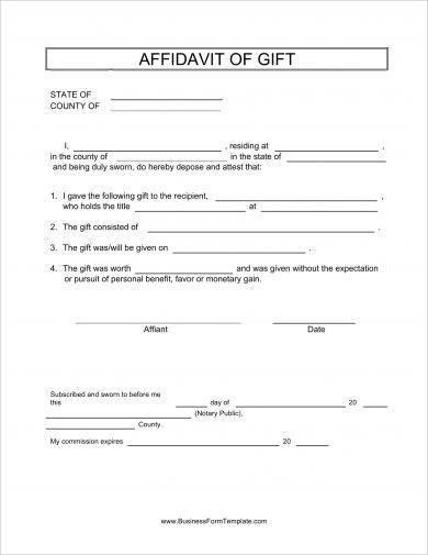 affidavit of gift form example