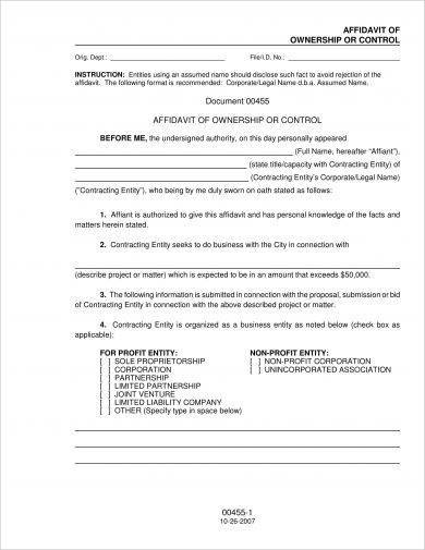 affidavit of ownership or control example1