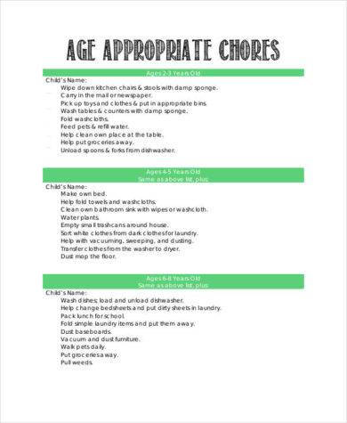 age appropriate chore chart