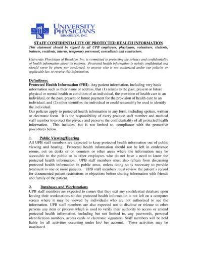 agreement for staff confidentiality of protected heath information example