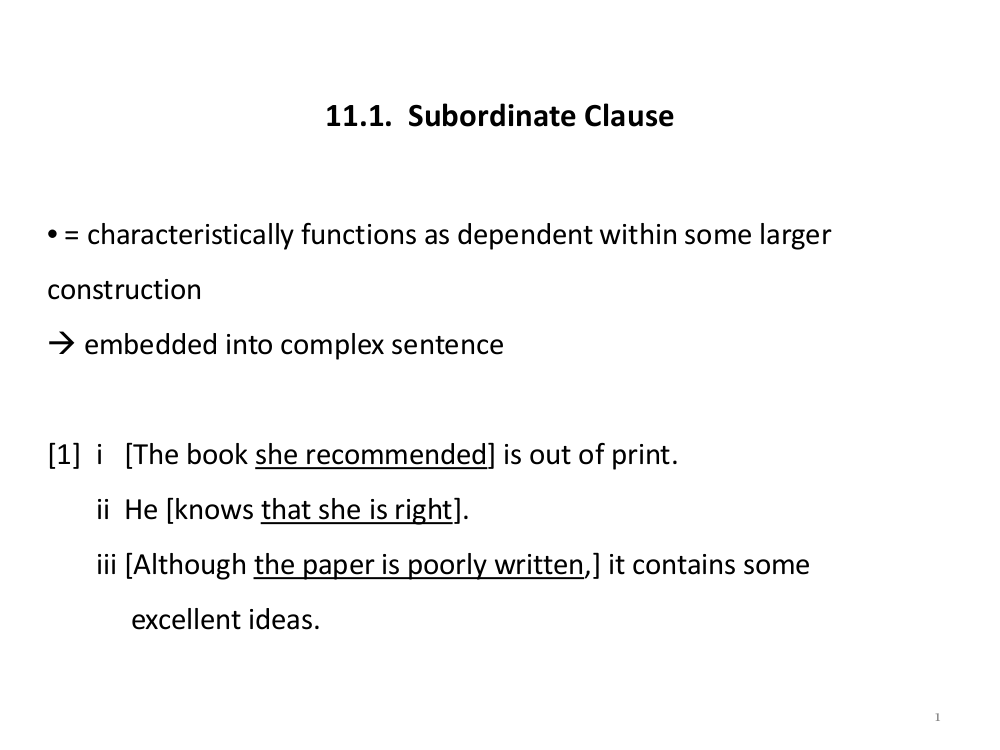 all about subordinate clauses