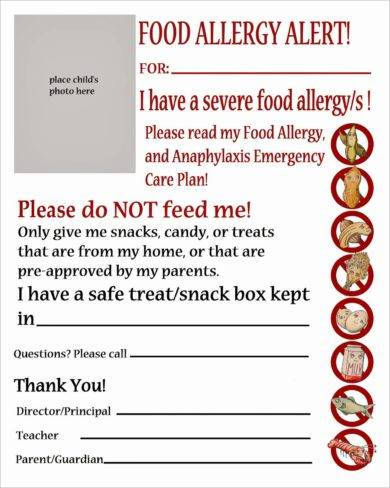 allergy action plan for children example2