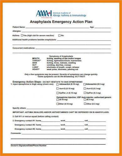 allergy action plan for emergencies example1