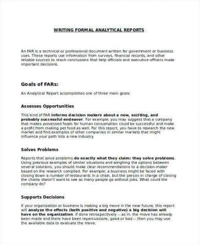 analytical report writing format example