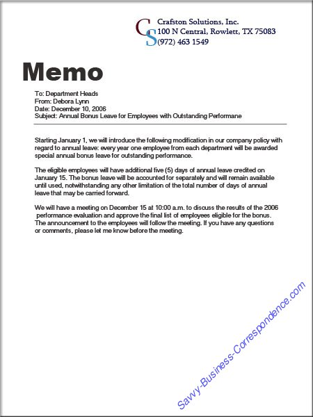 annual bonus leave for employees with outstanding performance memo example