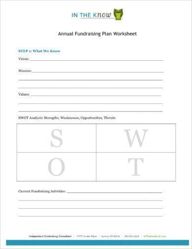 annual fundraising plan worksheet example1