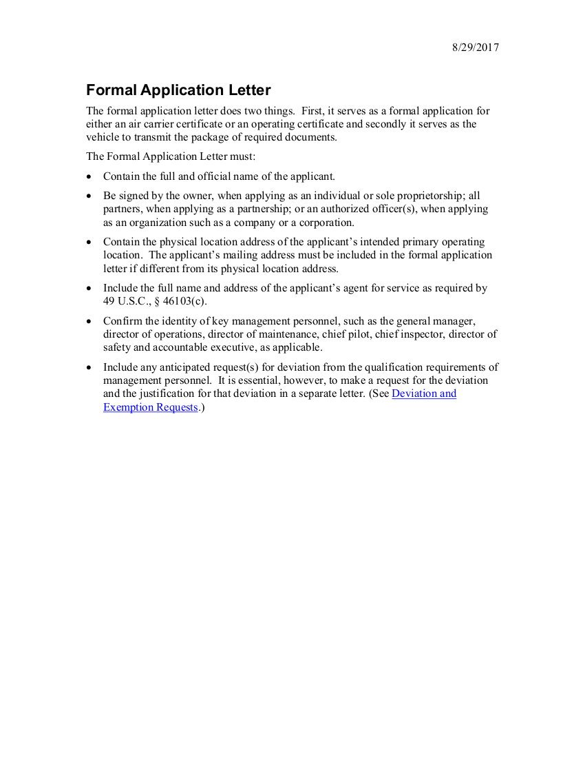 application formal letter example