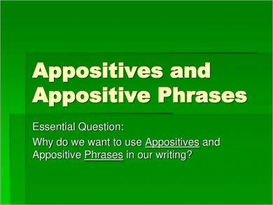 appositives and appositive phrases example