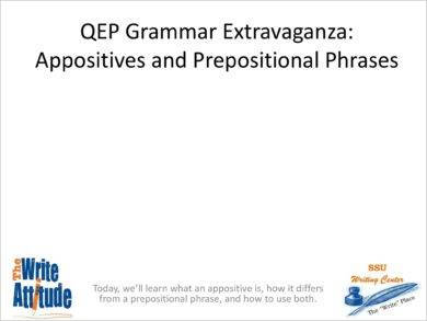 appositives and prepositional phrases example