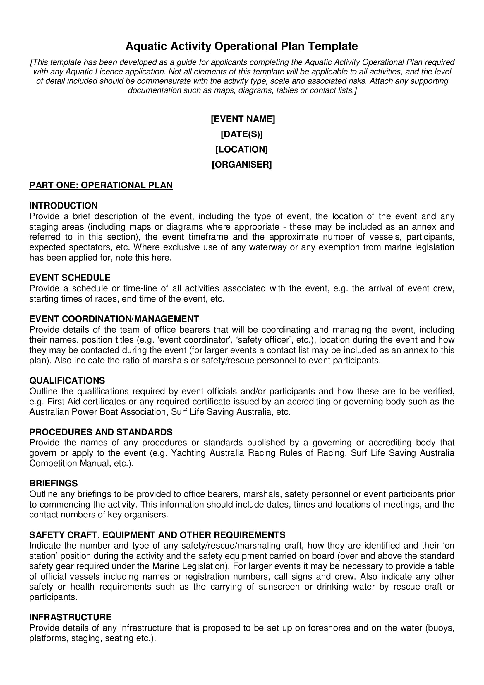 aquatic activity or event operational plan template example 1