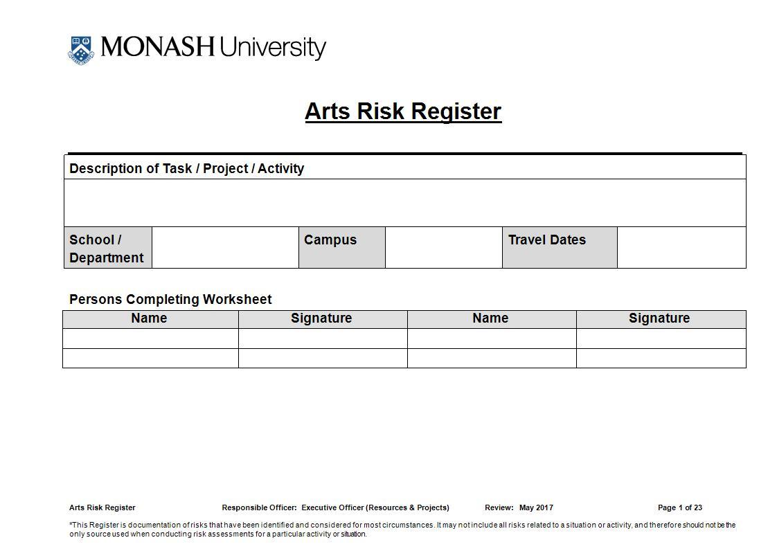 arts risk register example