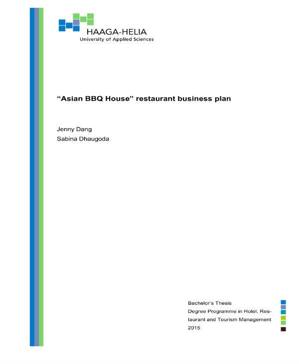 asian bbq house restaurant business plan