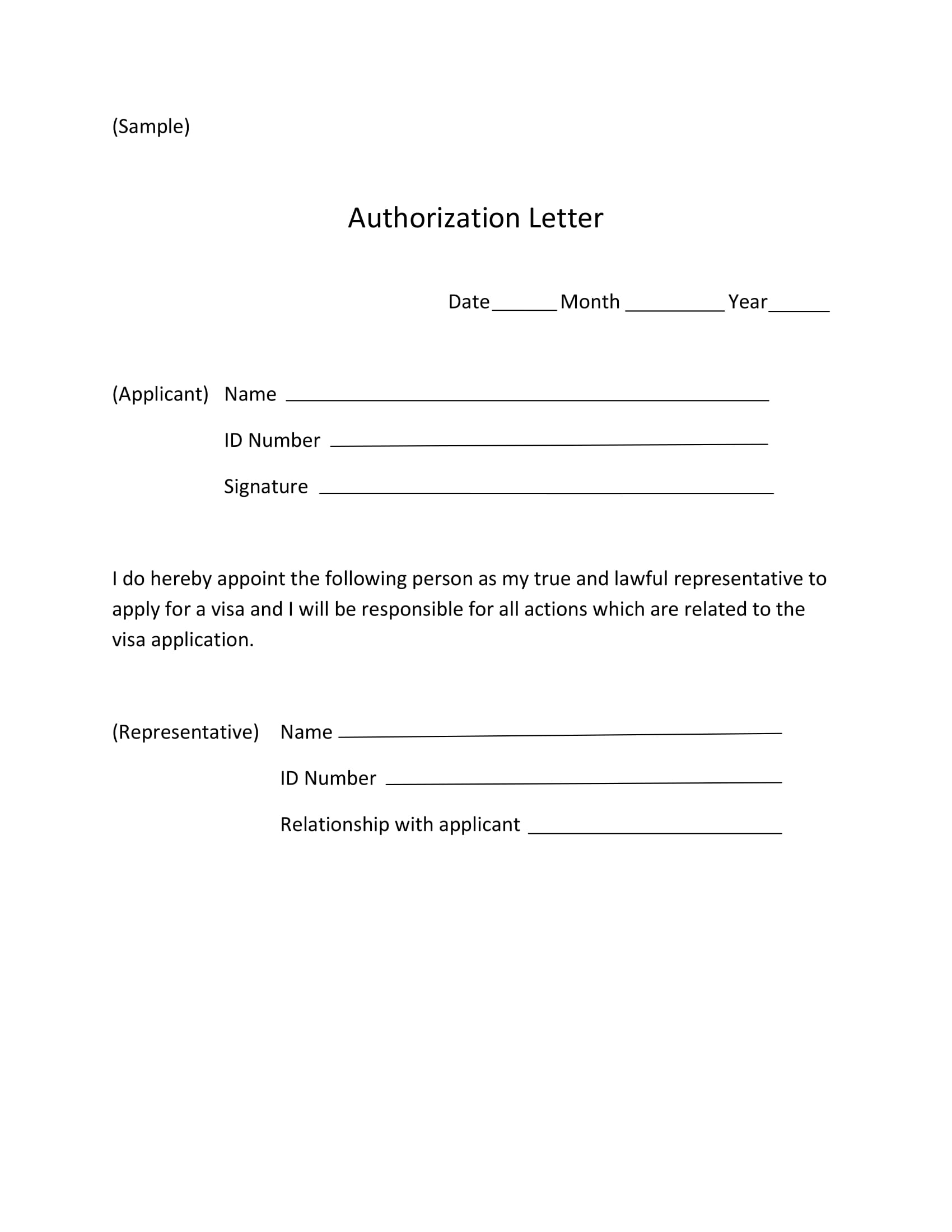 authorization letter for visa application and receipt example 1