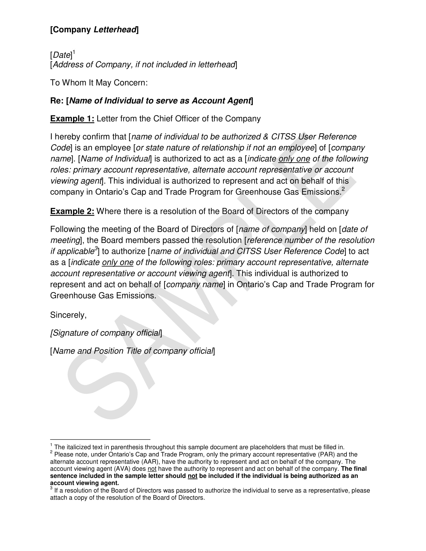 authorization letter for an agent or employee to act on behalf of the company example 1