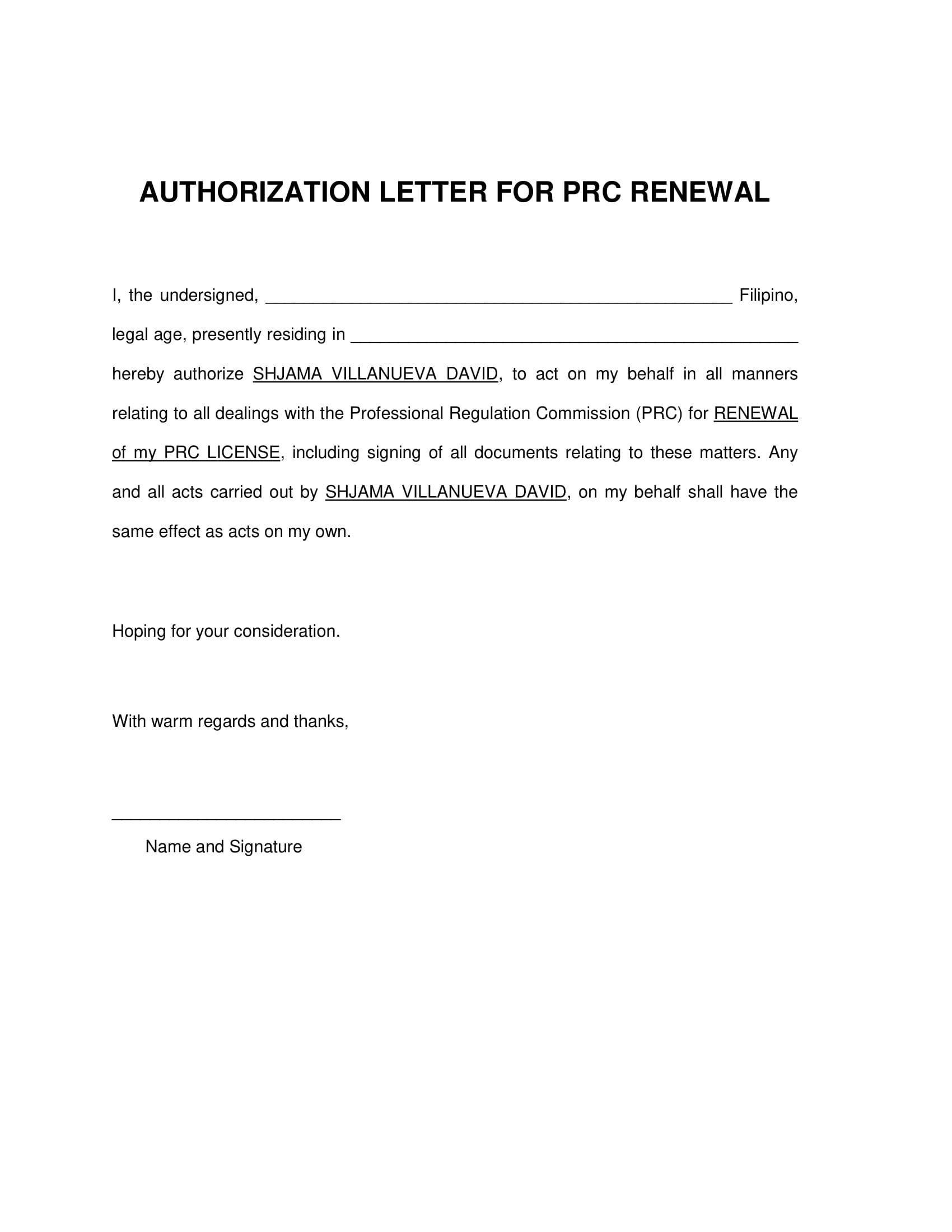authorization letter to act on behalf for prc renewal example 1