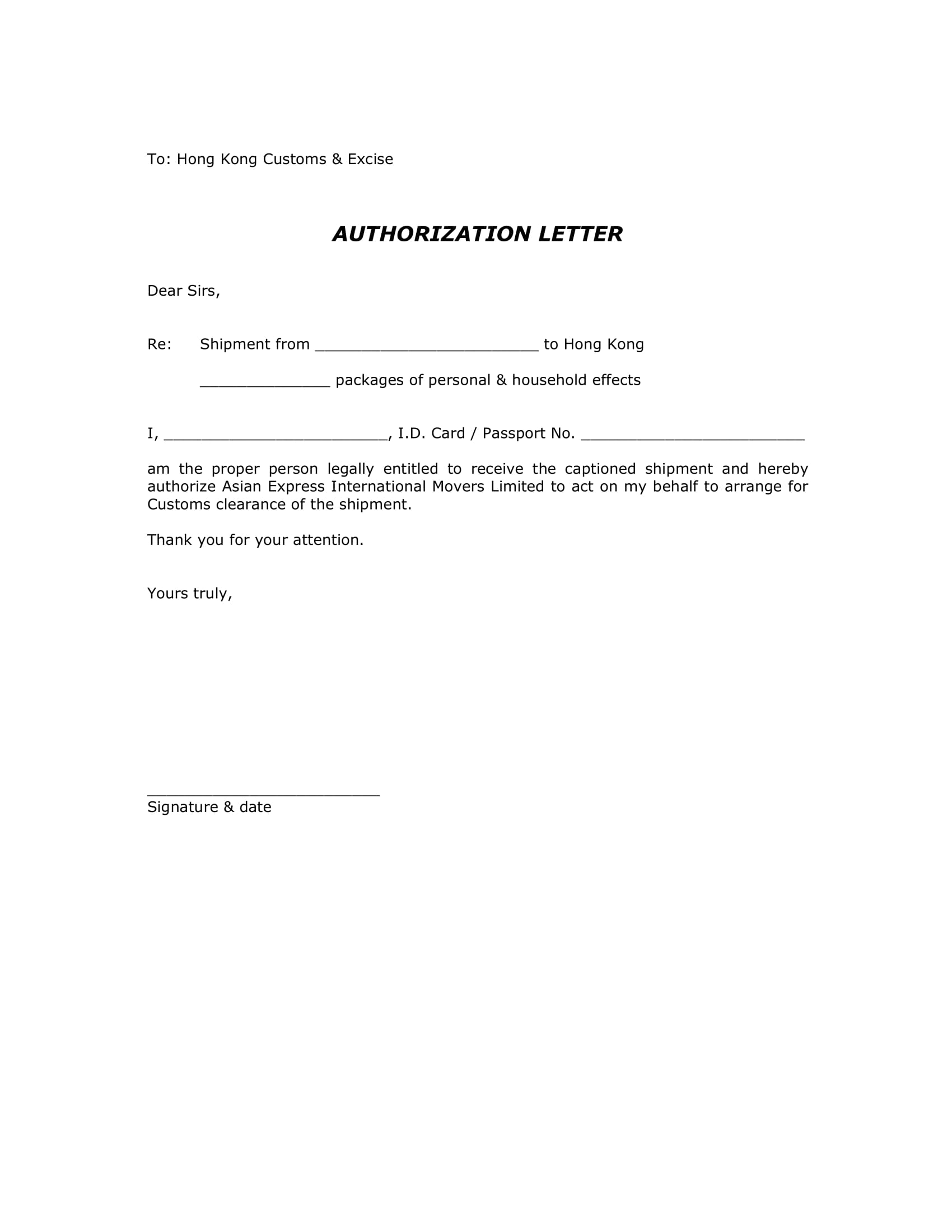 authorization letter to claim package example