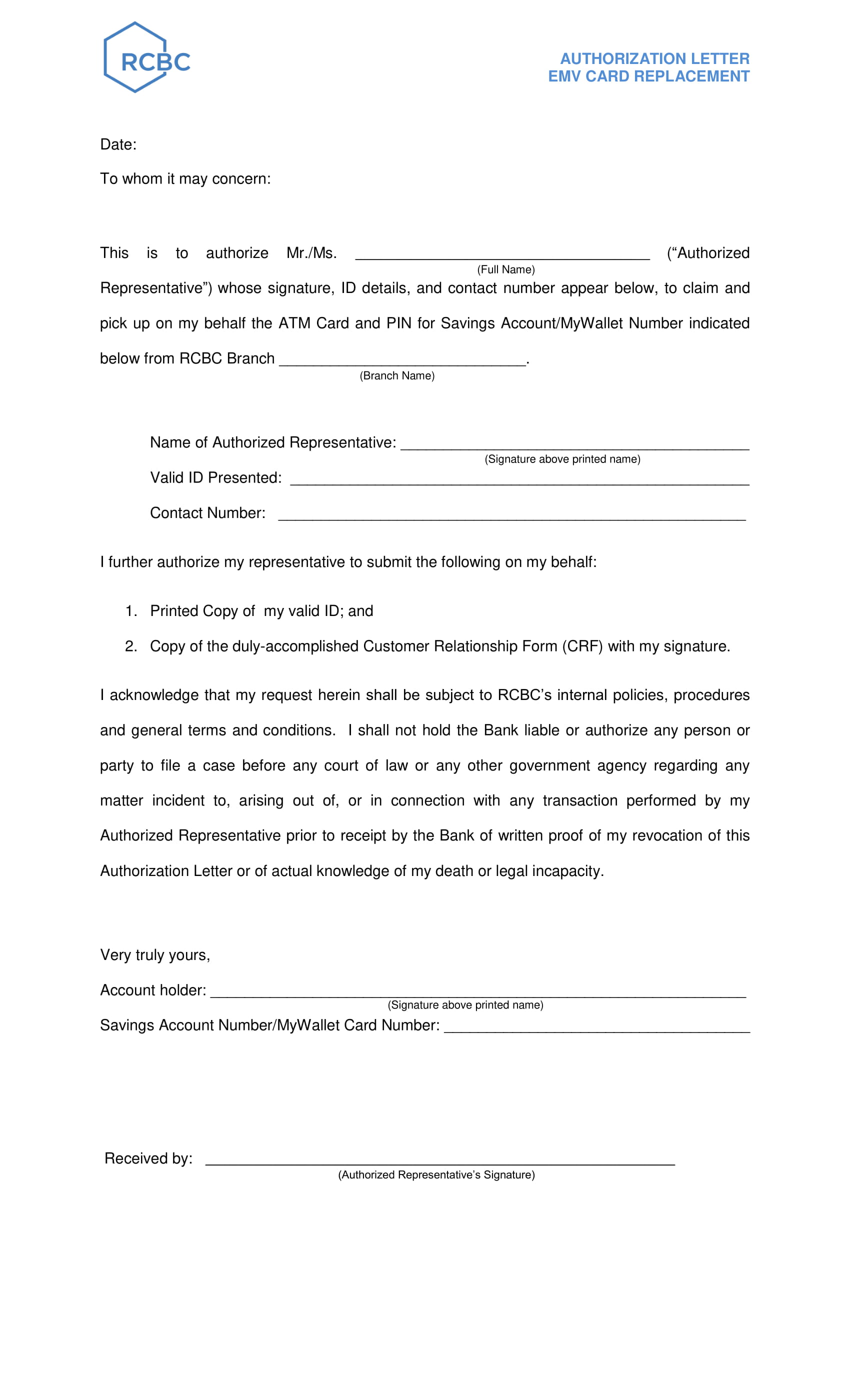 authorization letter to claim and pick up atm card and pin for savings account example 1