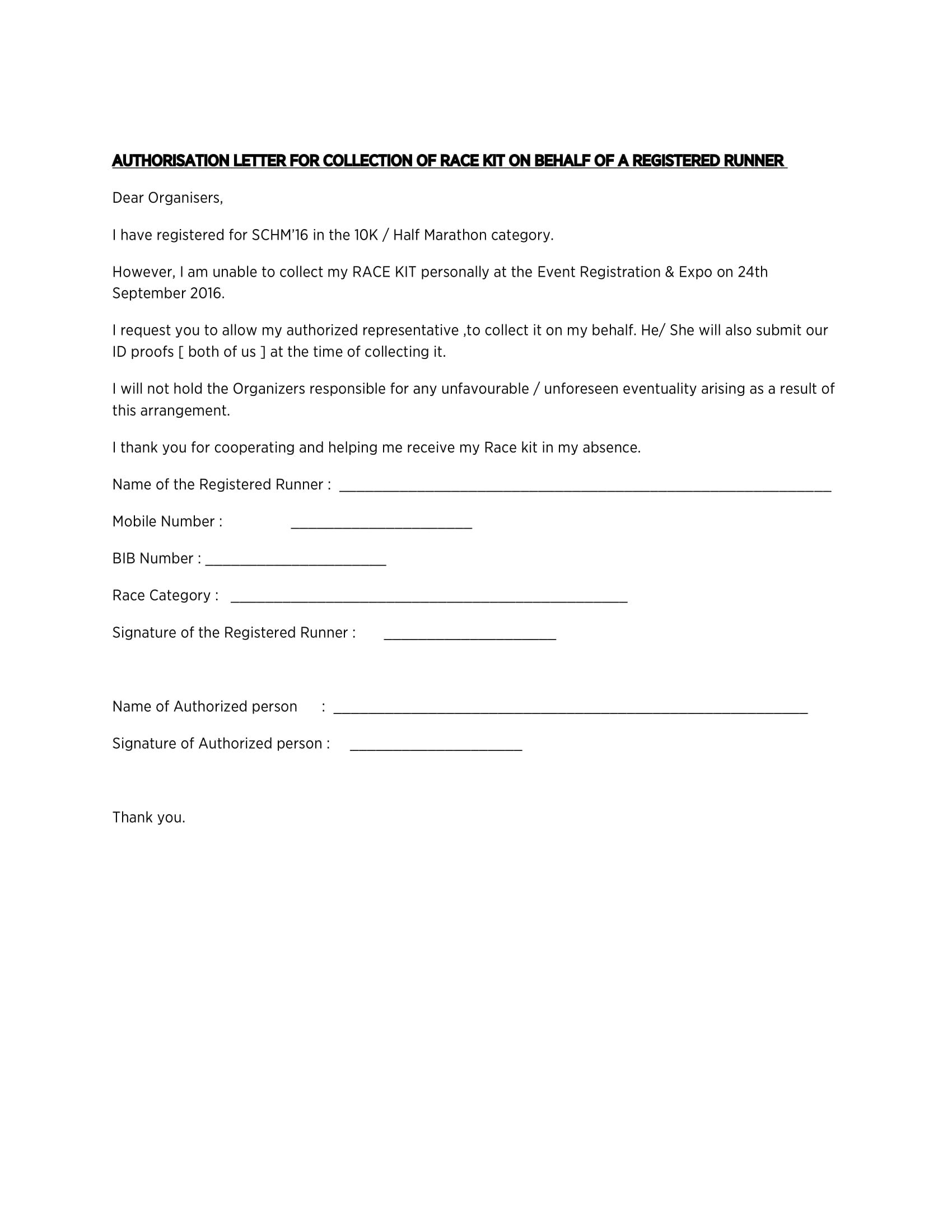 authorization letter to collect and receive race kit in behalf of a registered runner example 1