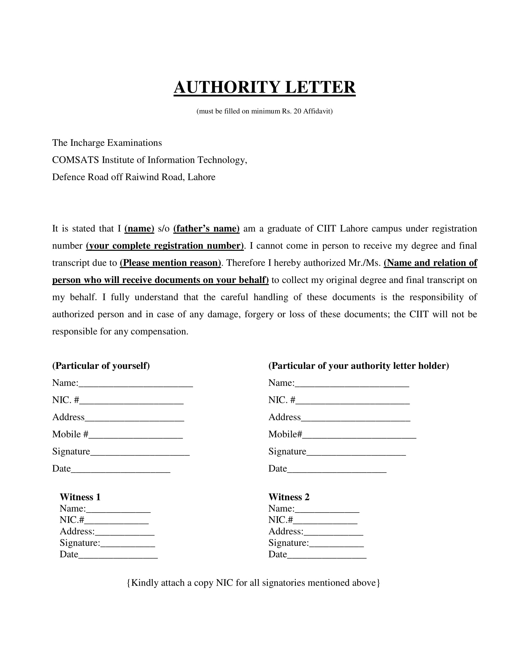 authorization letter to receive degree and final transcript example 1