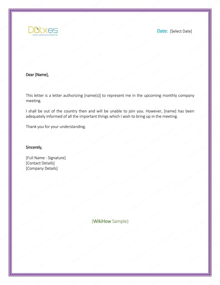authorization letter to represent template