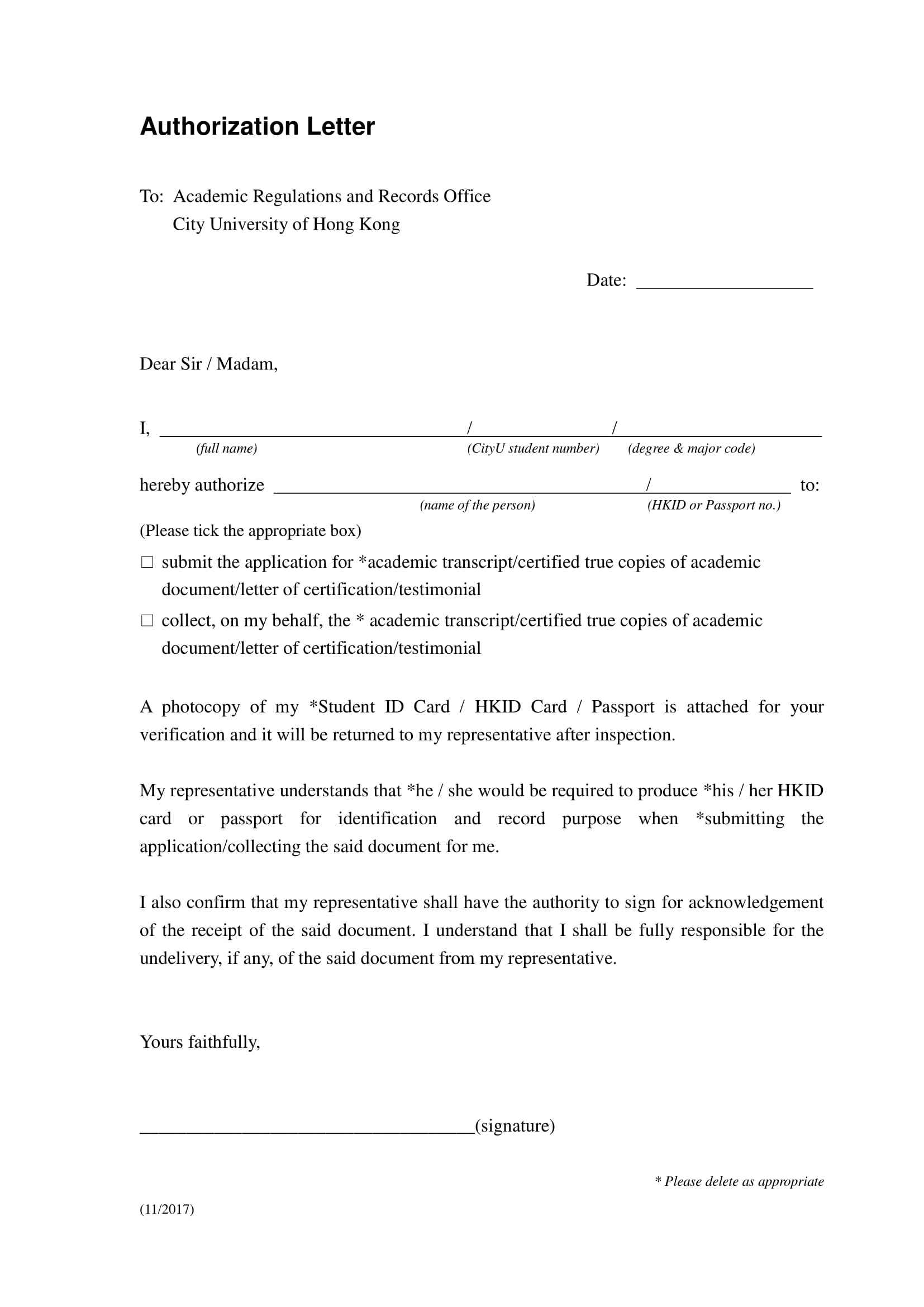 authorization letter to submit collect and receive academic documents example 1