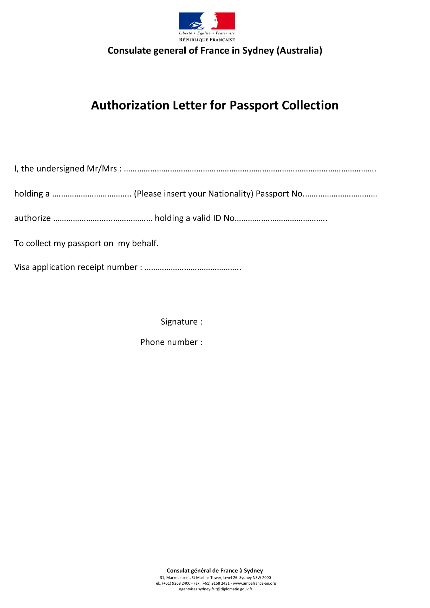 authorization for passport collection example