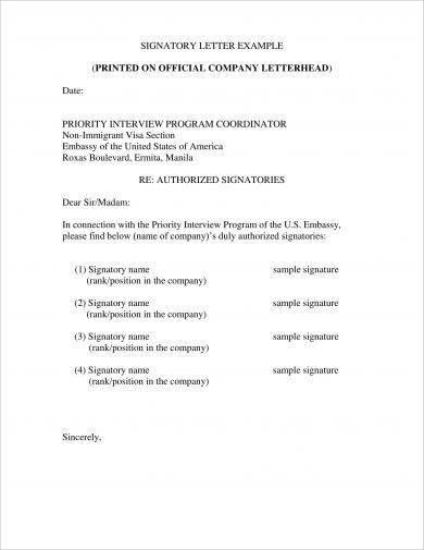 authorized signatory letter example