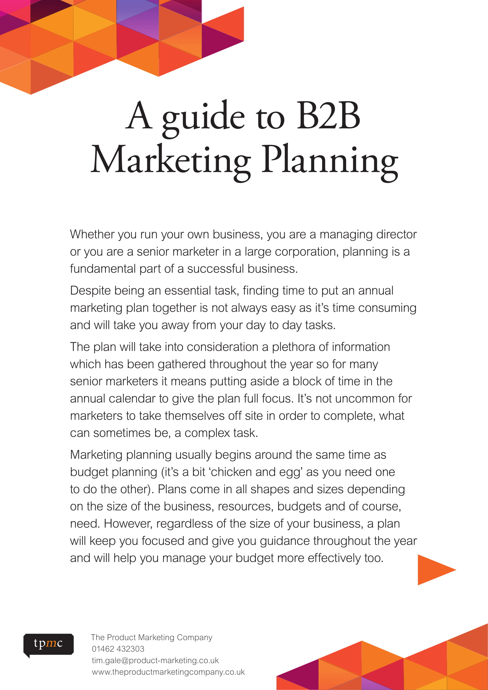 b2b marketing business plan guide example 1