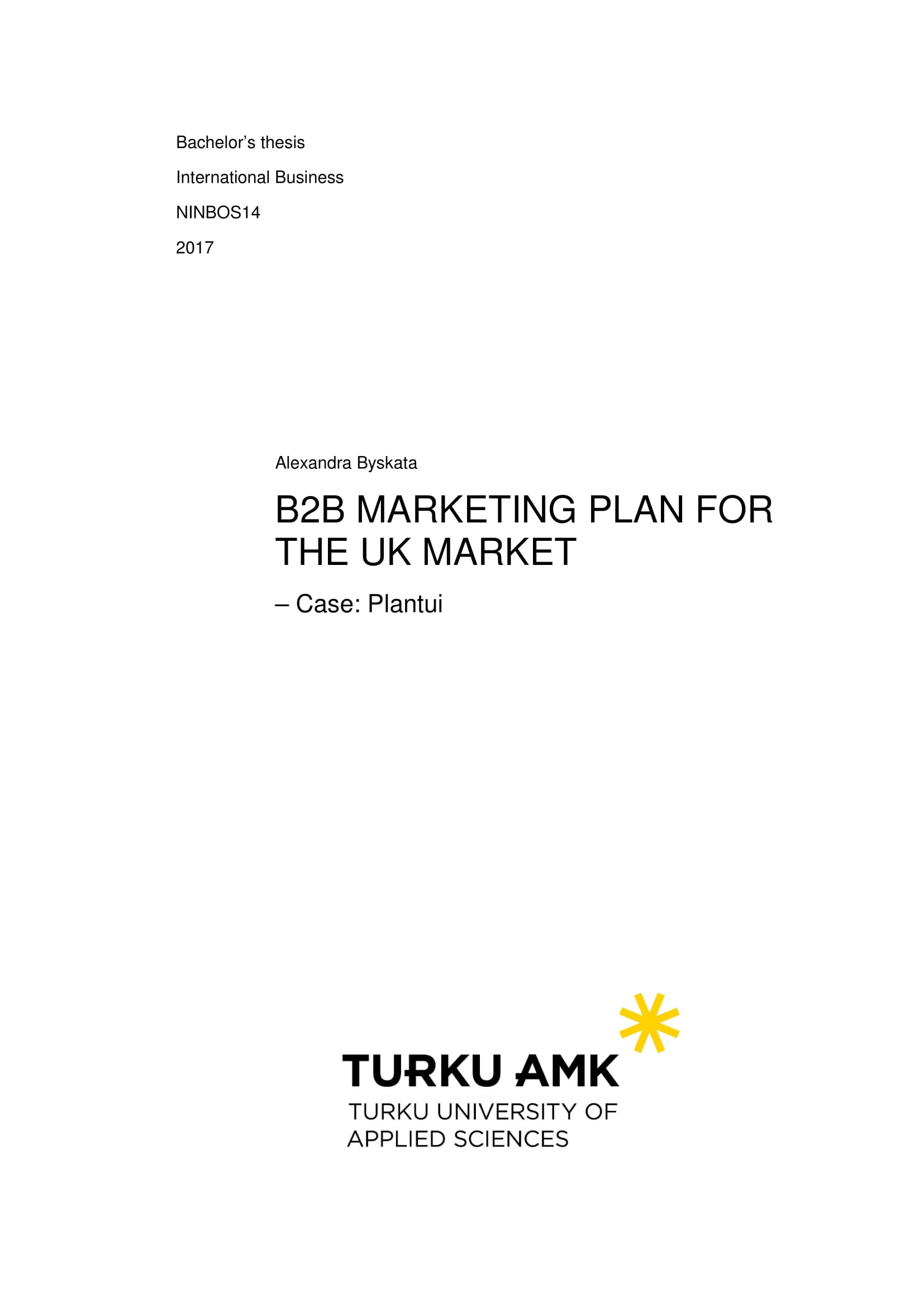 b2b marketing plan for uk market example
