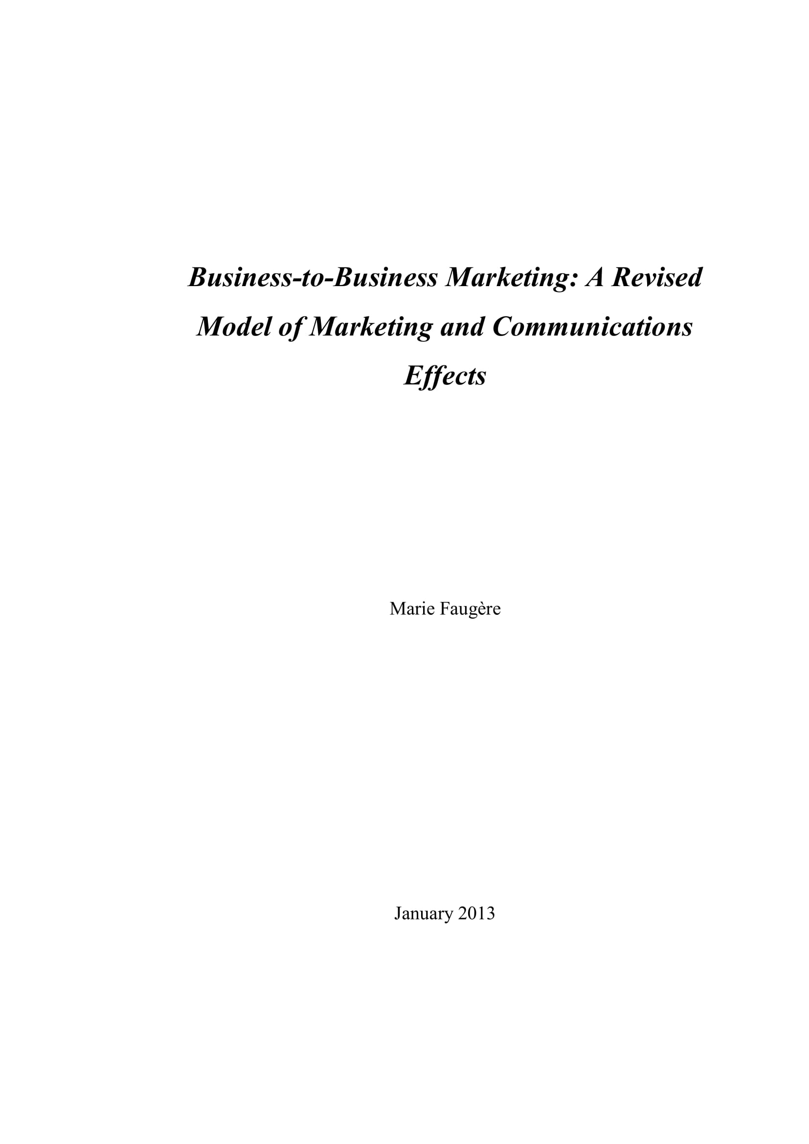 b2b marketing revised model of marketing and communications effects example 001