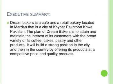 bakery marketing executive summary