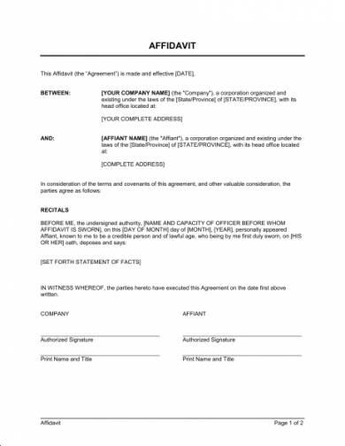 basic affidavit format