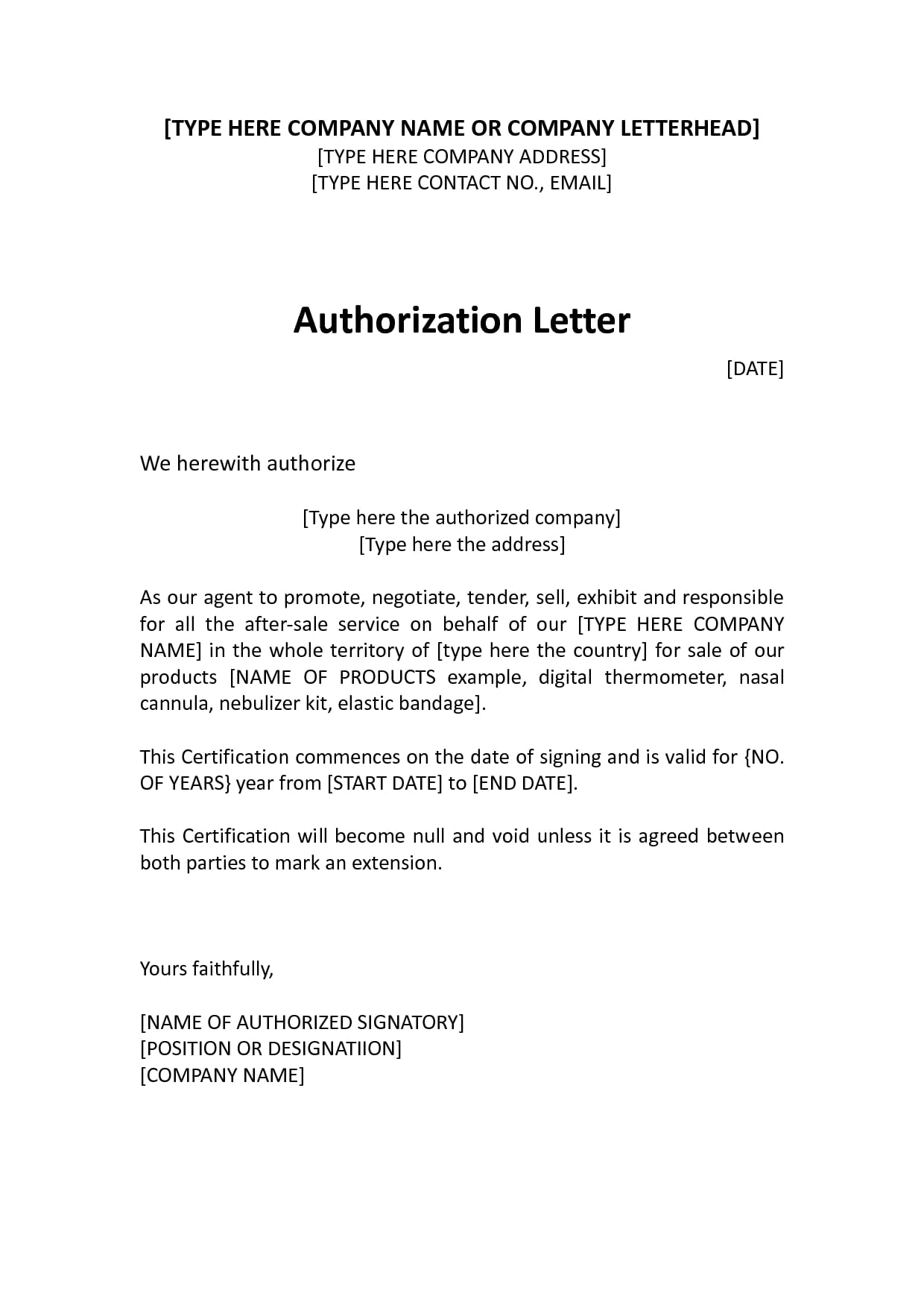 9  agent authorization letter examples