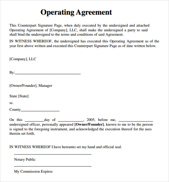basic business operating agreement example