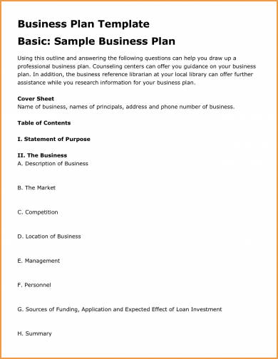 basic business plan sample template