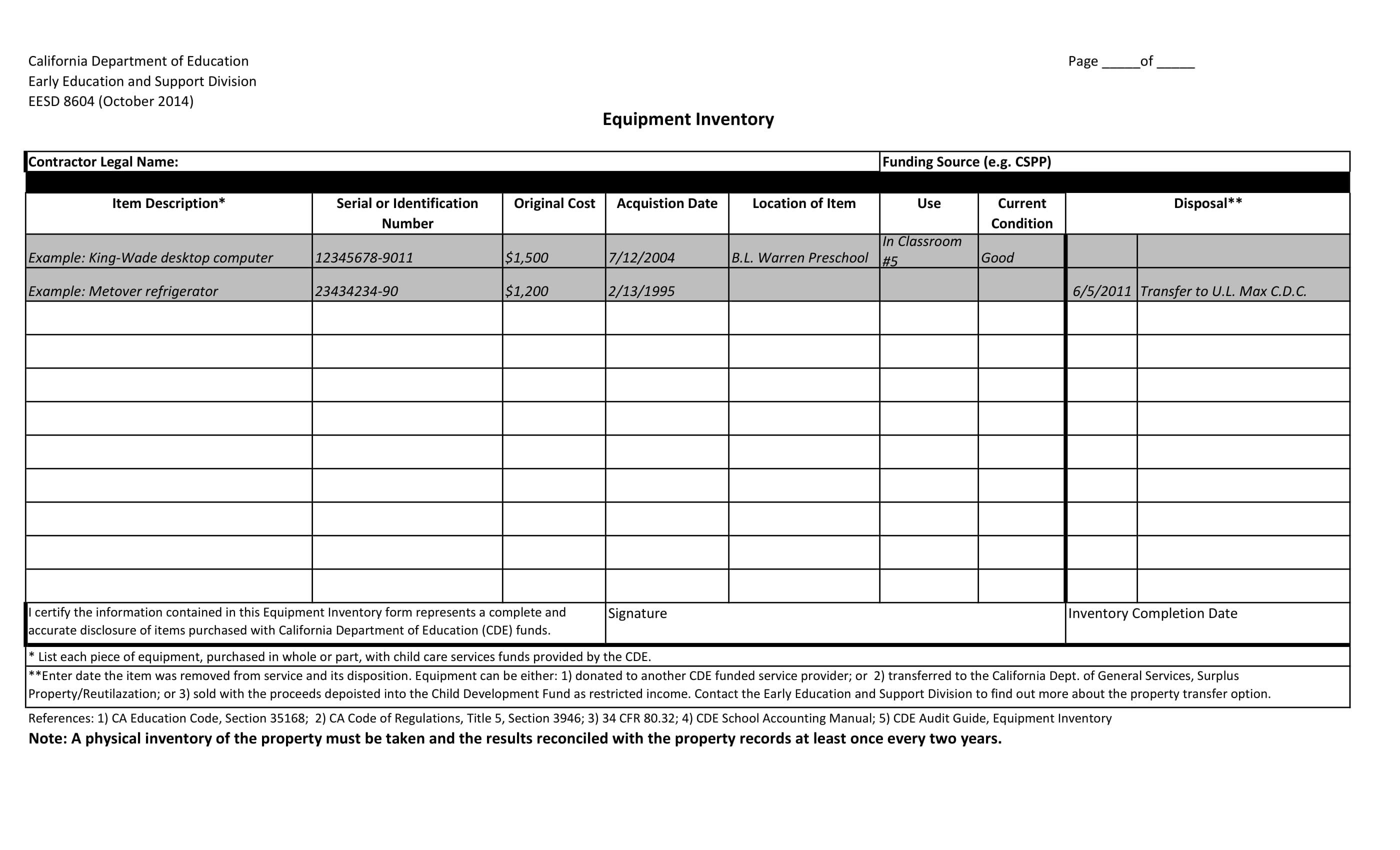 basic equipment inventory template example 11