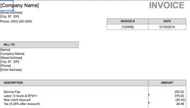 basic freelance invoice example