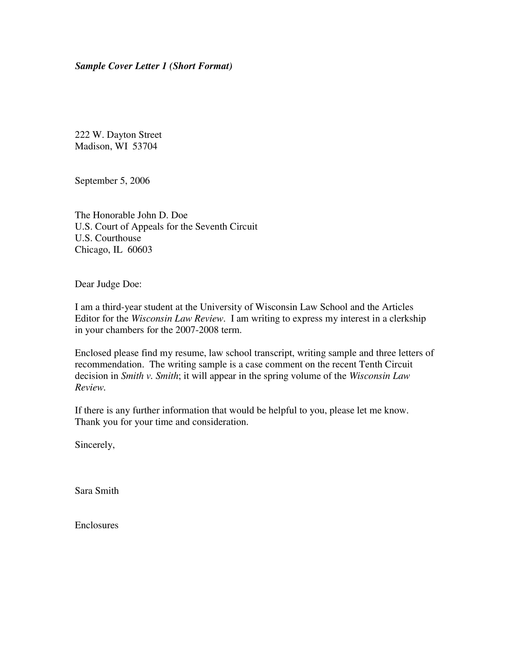 basic internship cover letter example