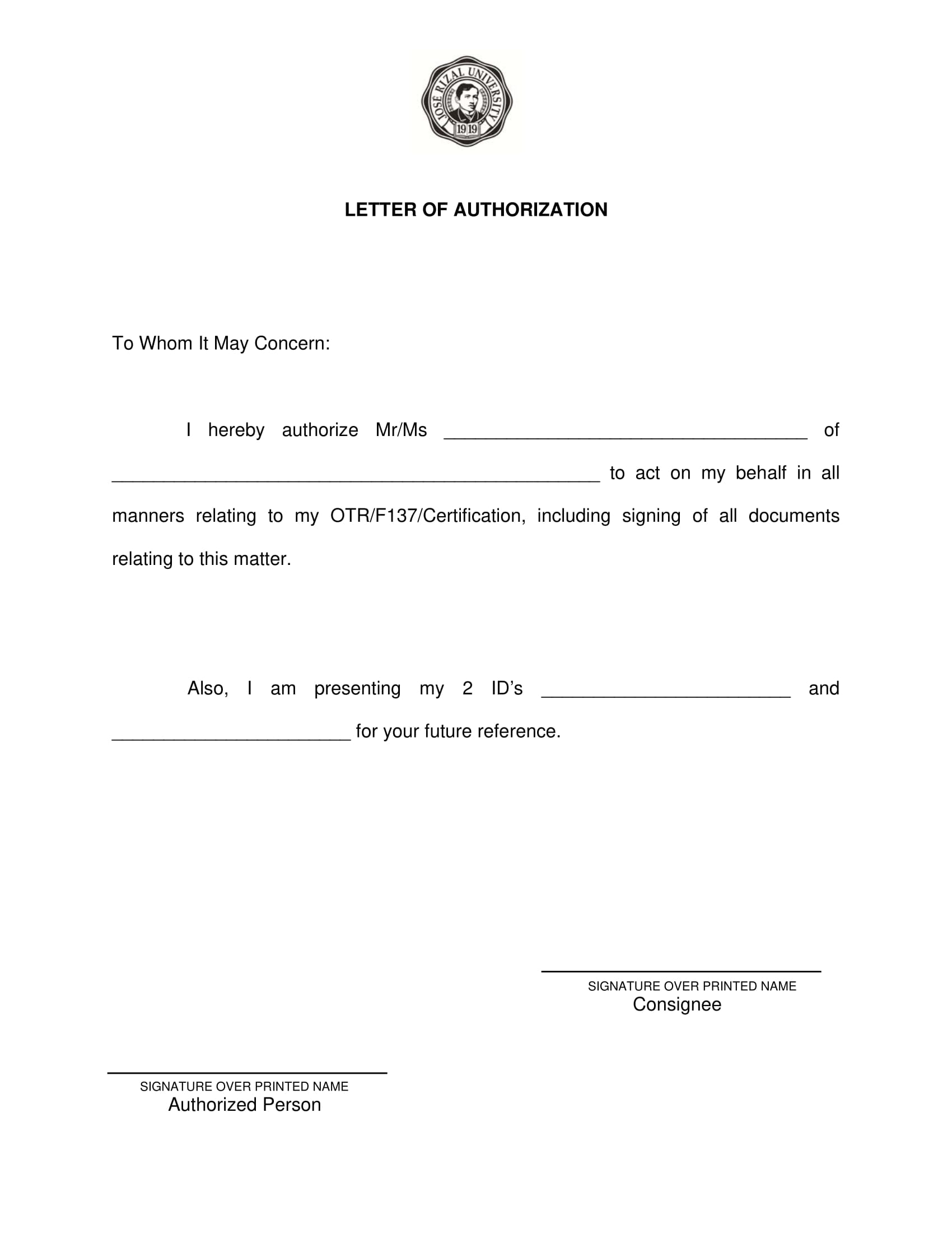 basic letter of authorization to act on behalf example 1